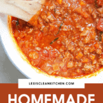 A pot of homemade meat sauce image for Pinterest.