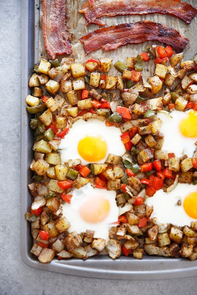 Sheet Pan Classic Breakfast (Eggs, Bacon, & Home Fries!)