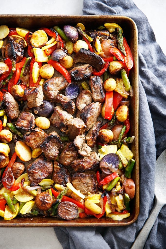 Sheet Pan Marinated Steak Tips with Veggies