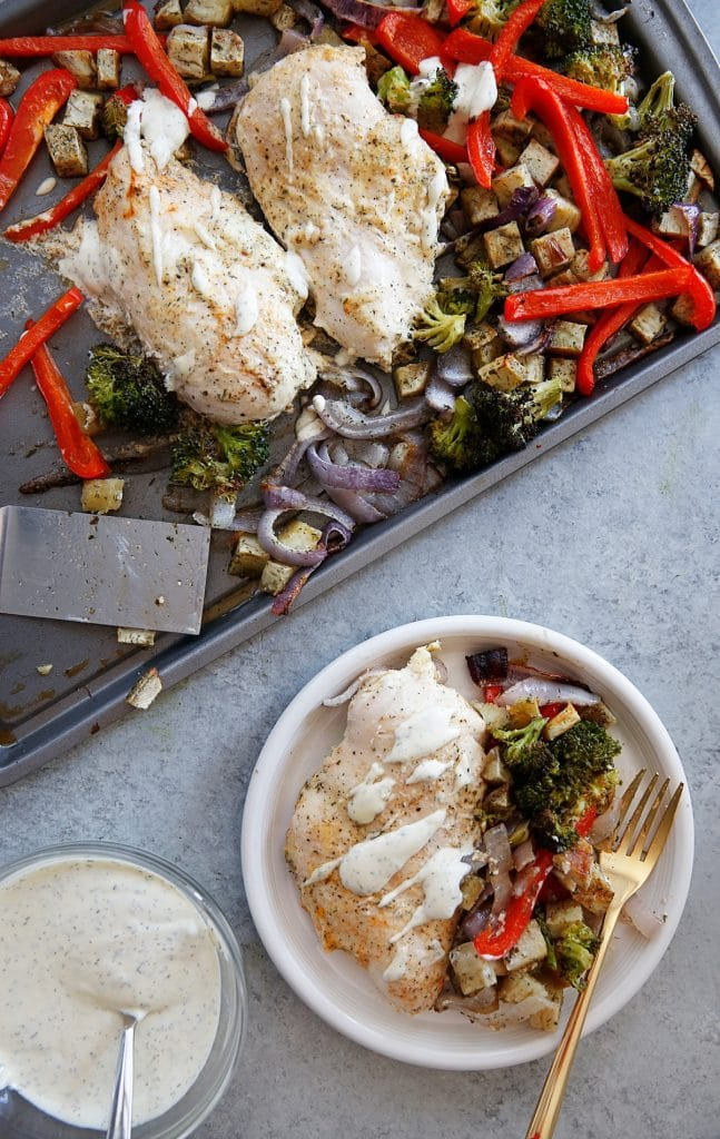 Sheet Pan Ranch Chicken and Vegetables