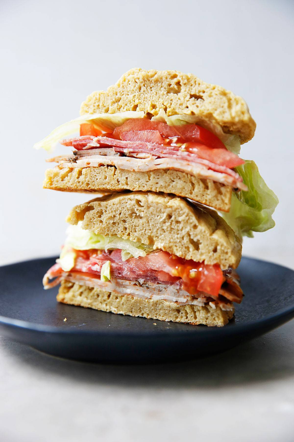 Italian sub on a roll stacked up