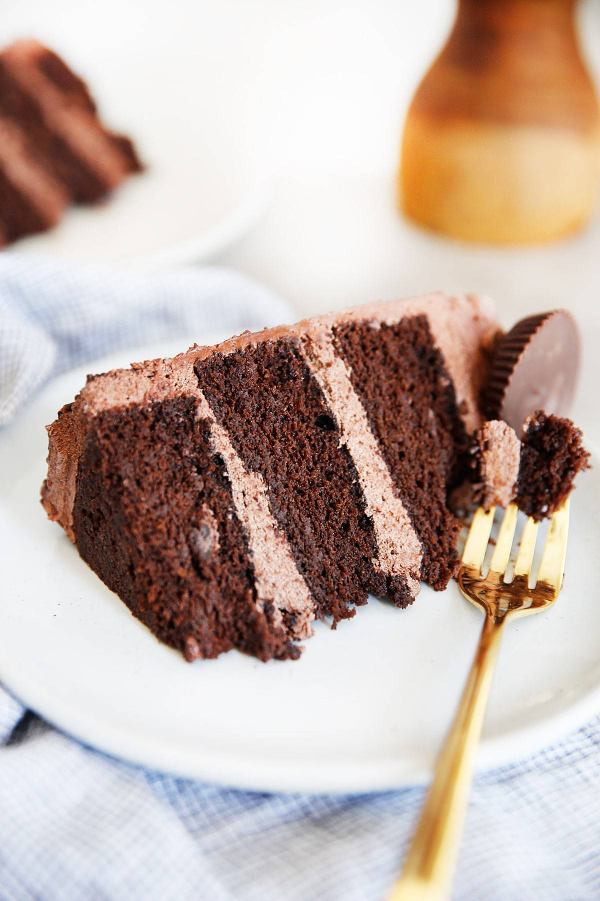 A three layer chocolate cake on a plate.