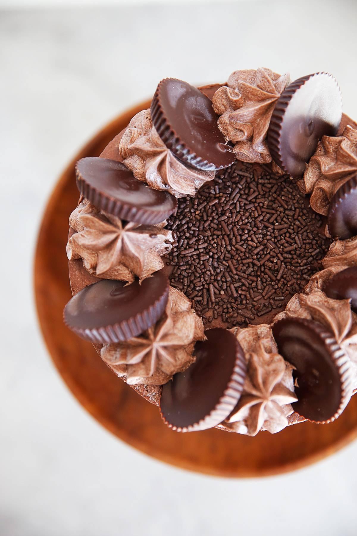 Gluten Free Chocolate Cake Overhead