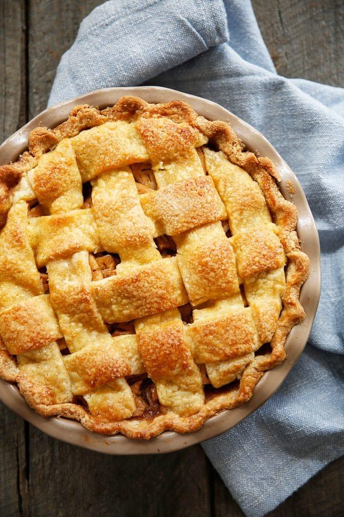 Paleo Apple Pie with a lattice crust.