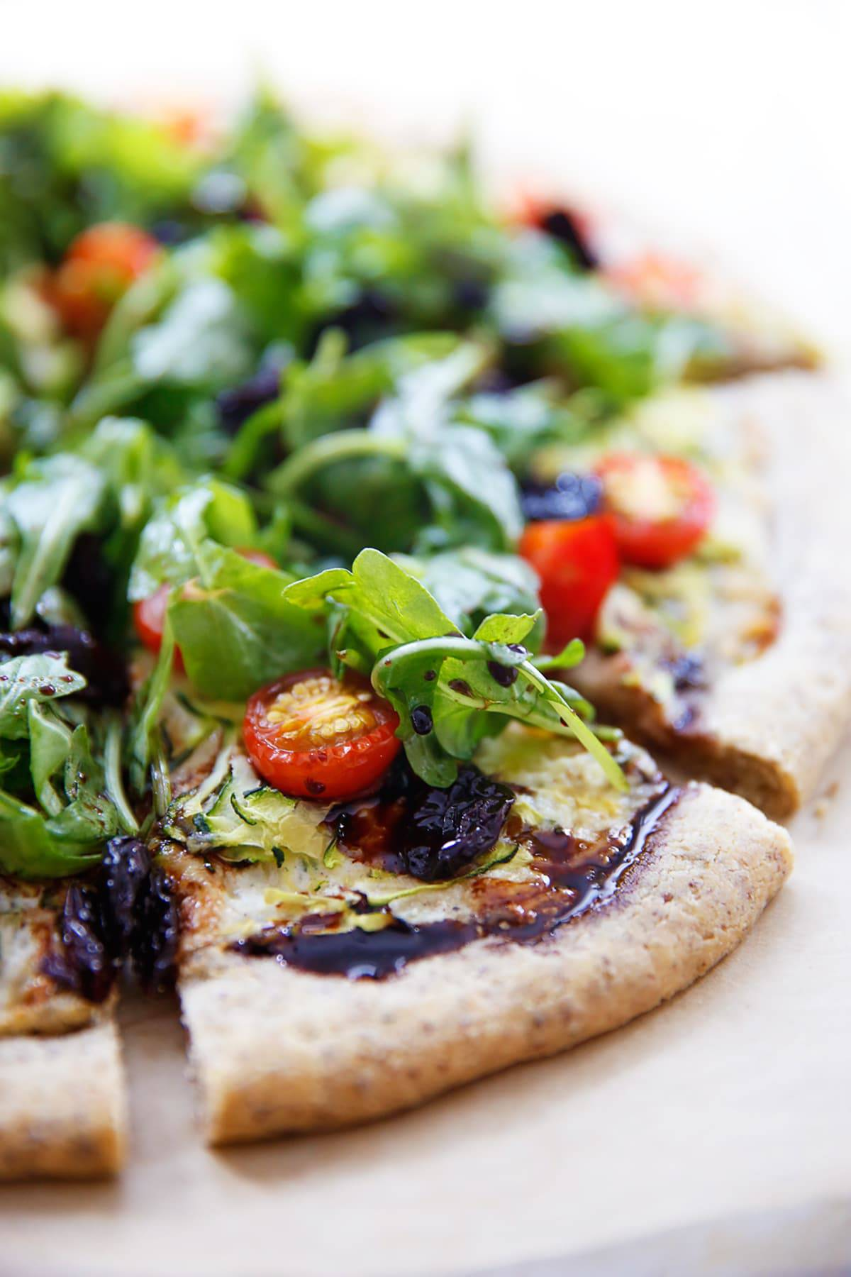 Garden Veggie Pizza with Tart Cherry Balsamic Reduction (Gluten-Free)