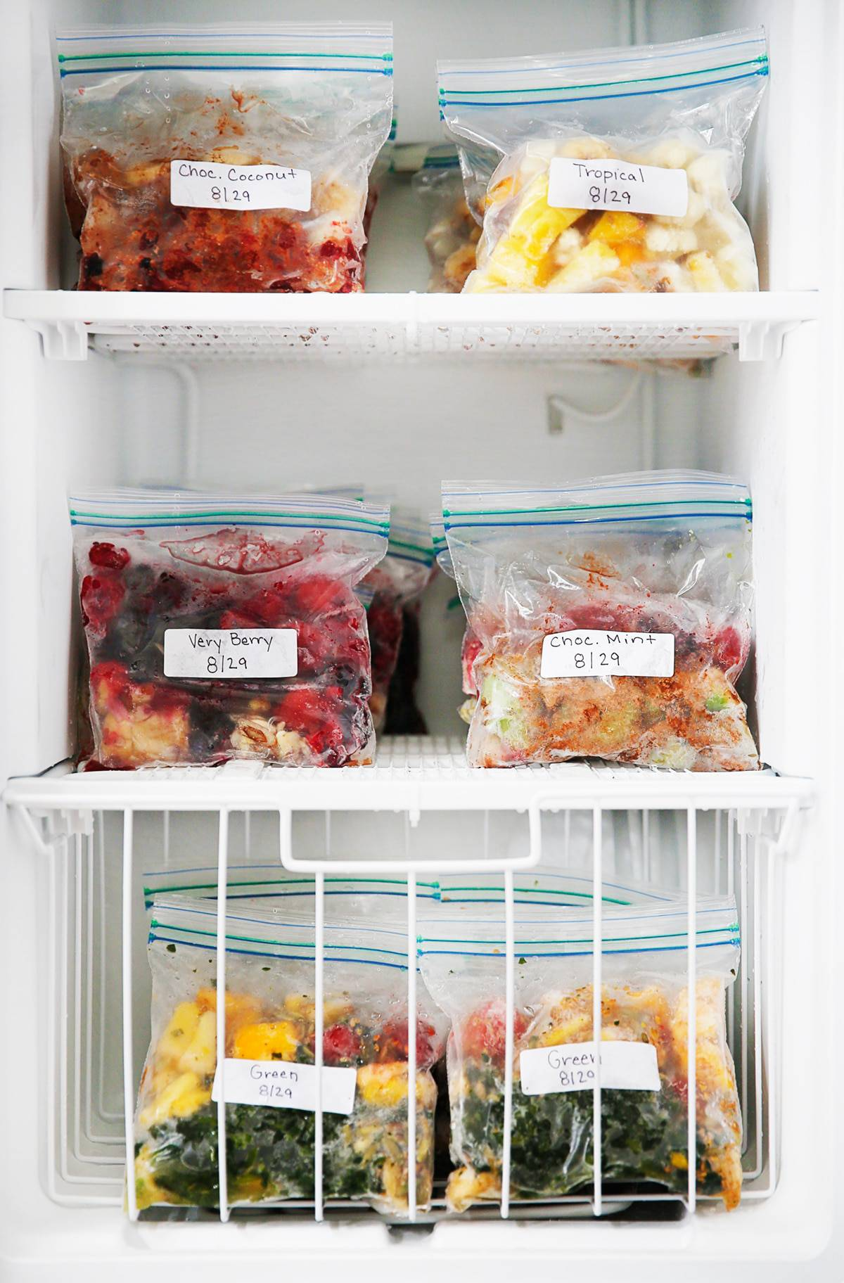 Smoothie Freezer Packs in the freezer