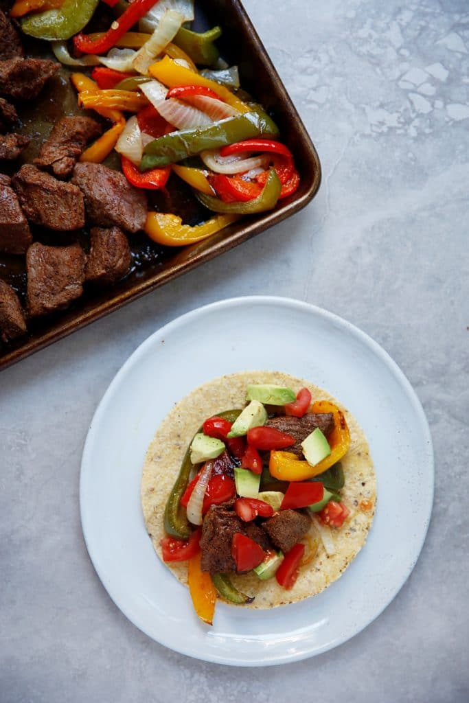 Sheet Pan Steak Fajitas Taco