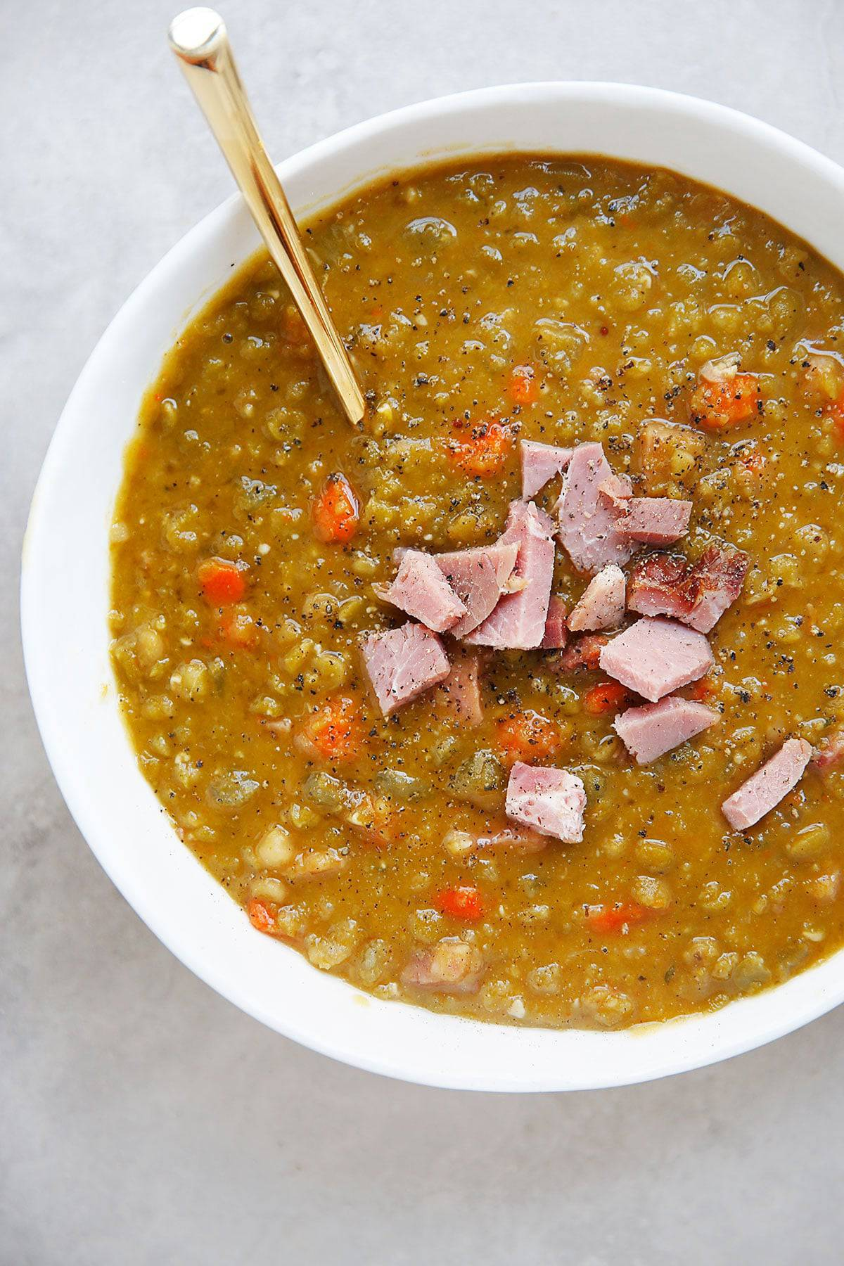 Split Pea Soup with ham in a bowl