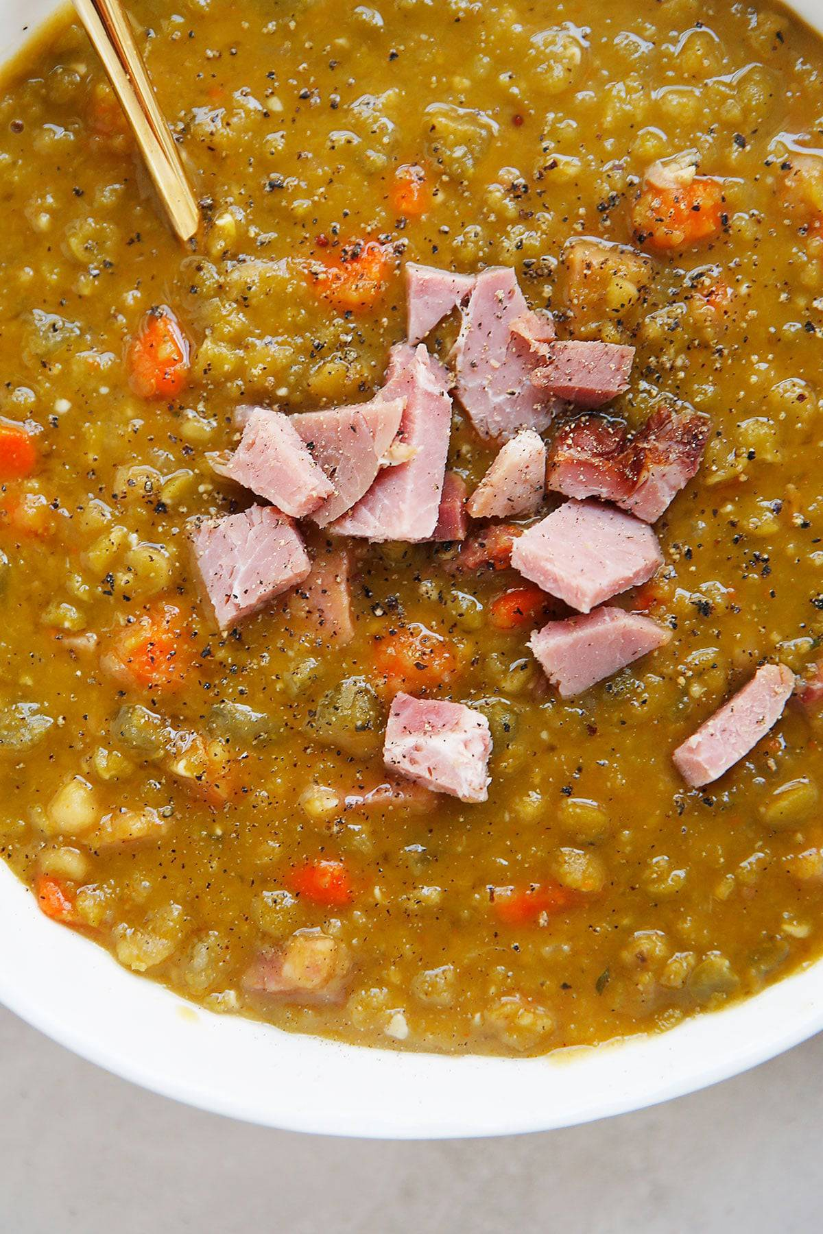 Split pea and ham soup with ground pepper