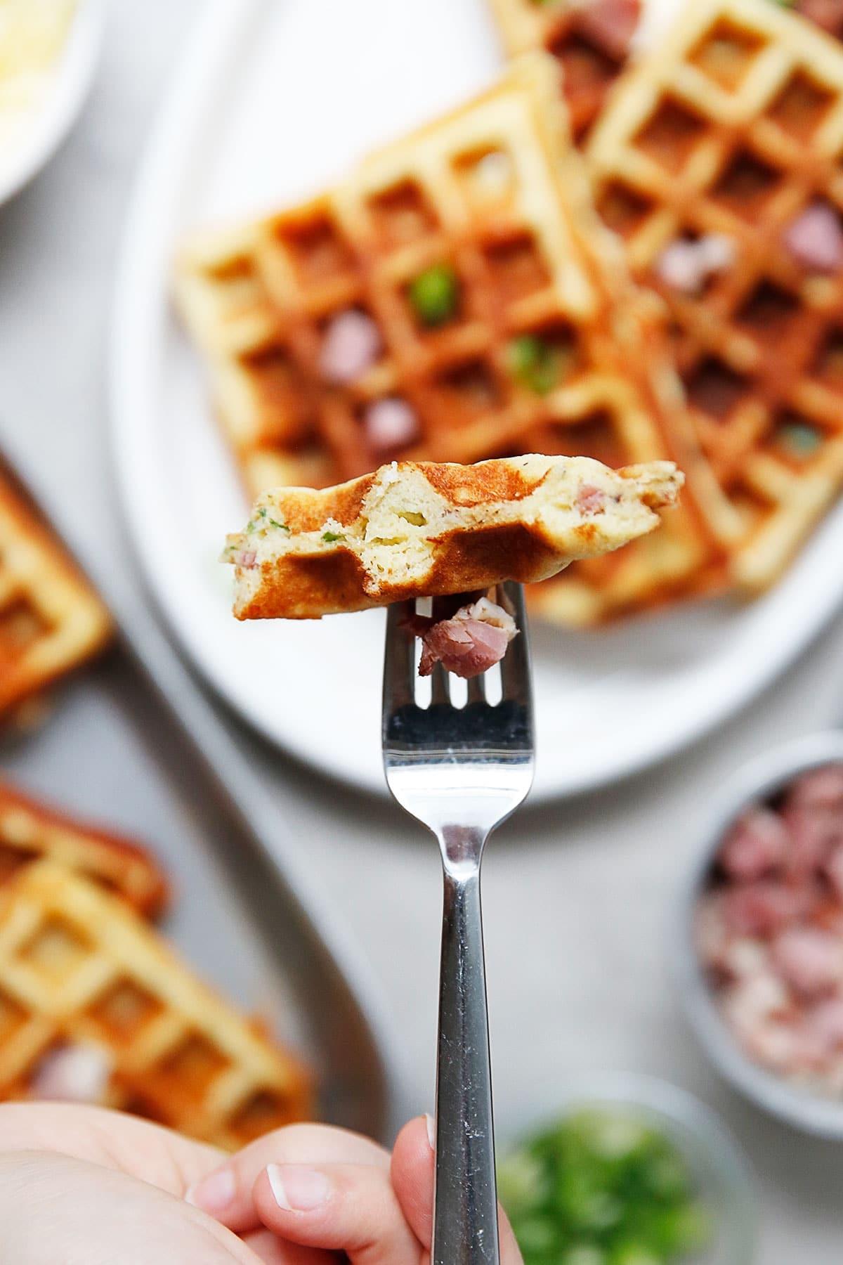 Ham and Cheddar Paleo Waffles