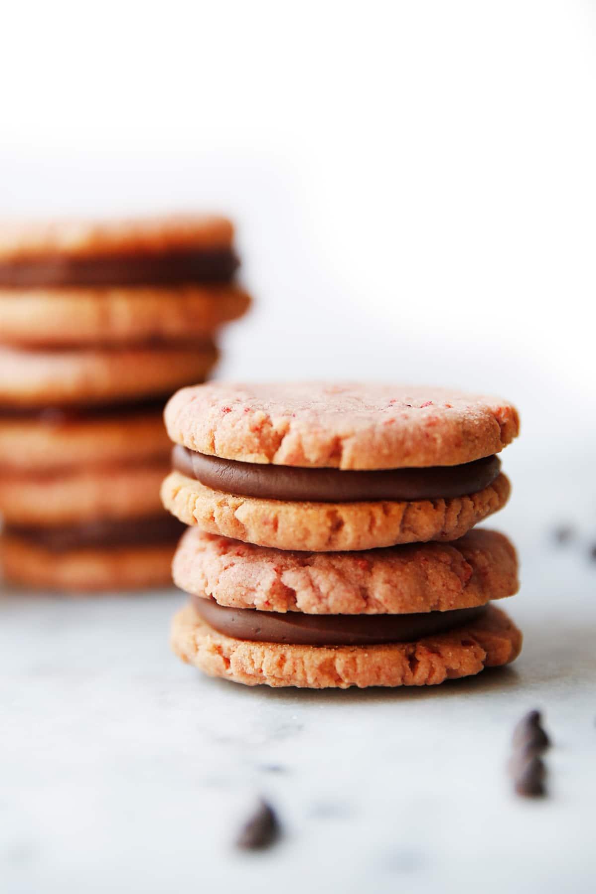 Strawberry and Chocolate Ganache Sandwich Cookies (Allergen Friendly)