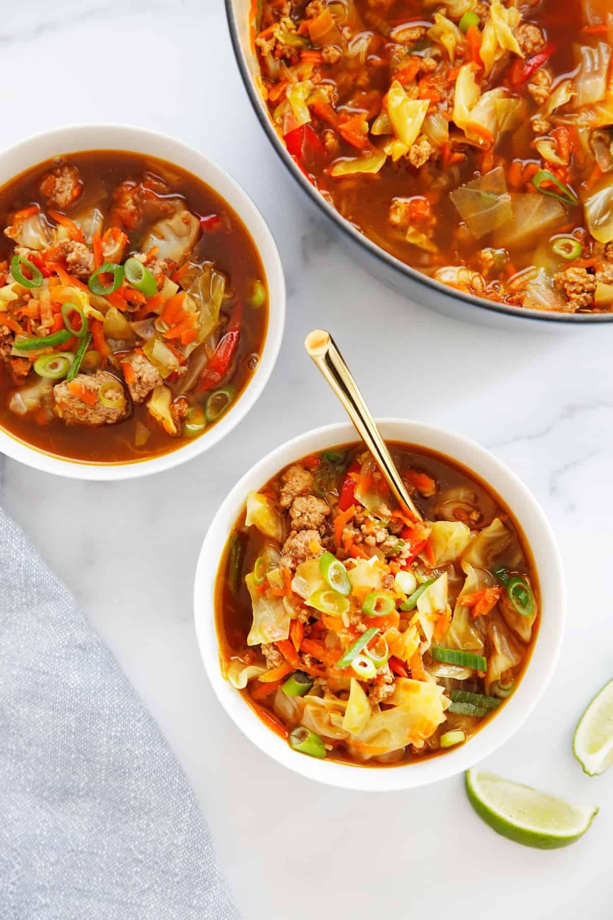 Servings of easy egg roll soup