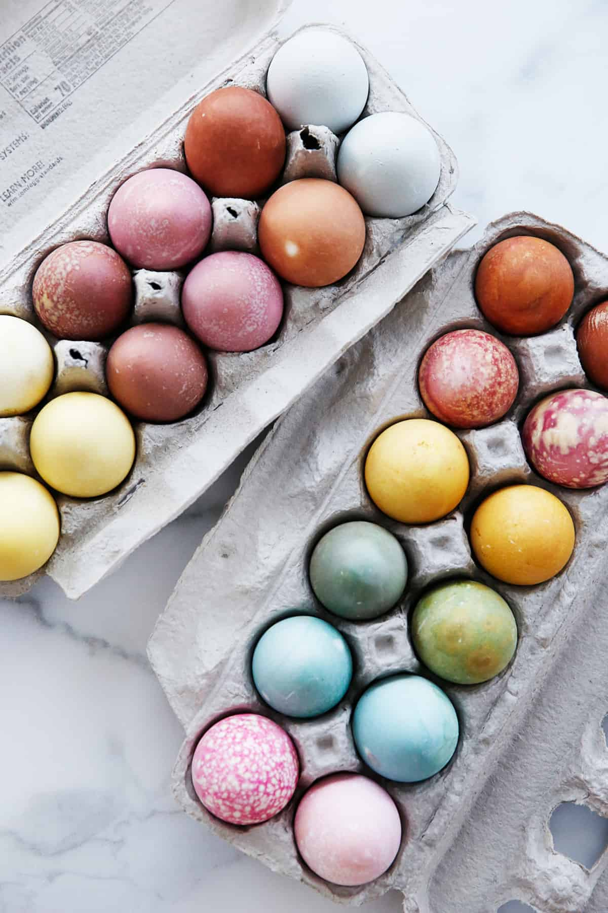 Naturally Dyed Easter eggs in carton