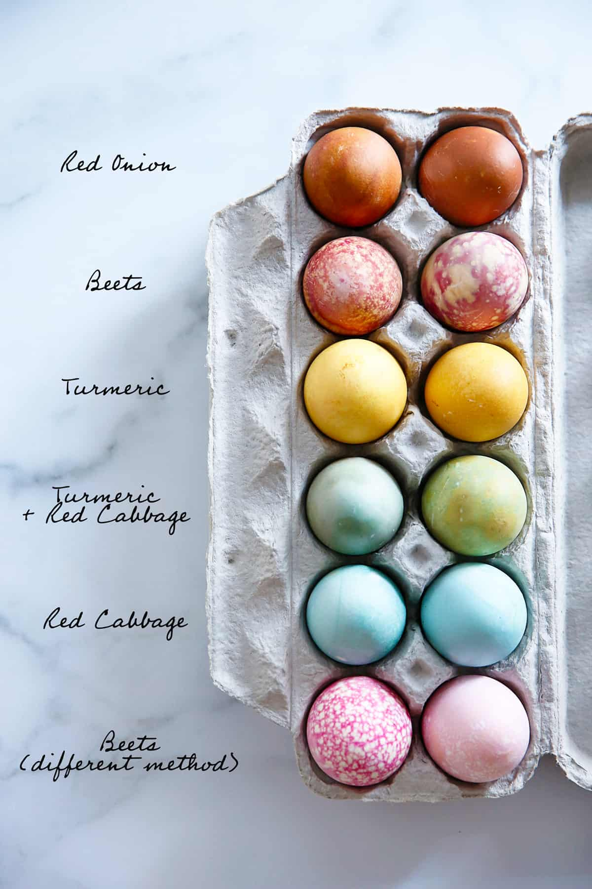 Eggs dyed with natural egg dye