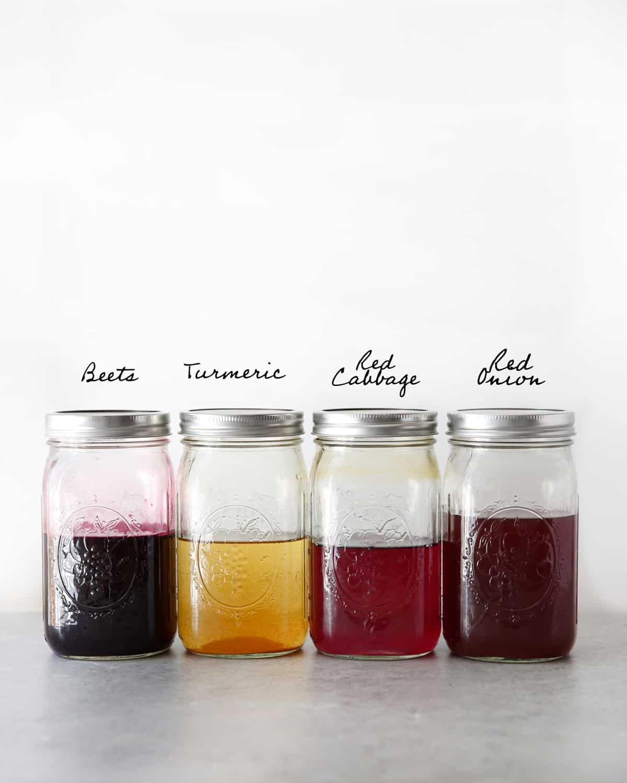 Natural Easter egg dyes in jars