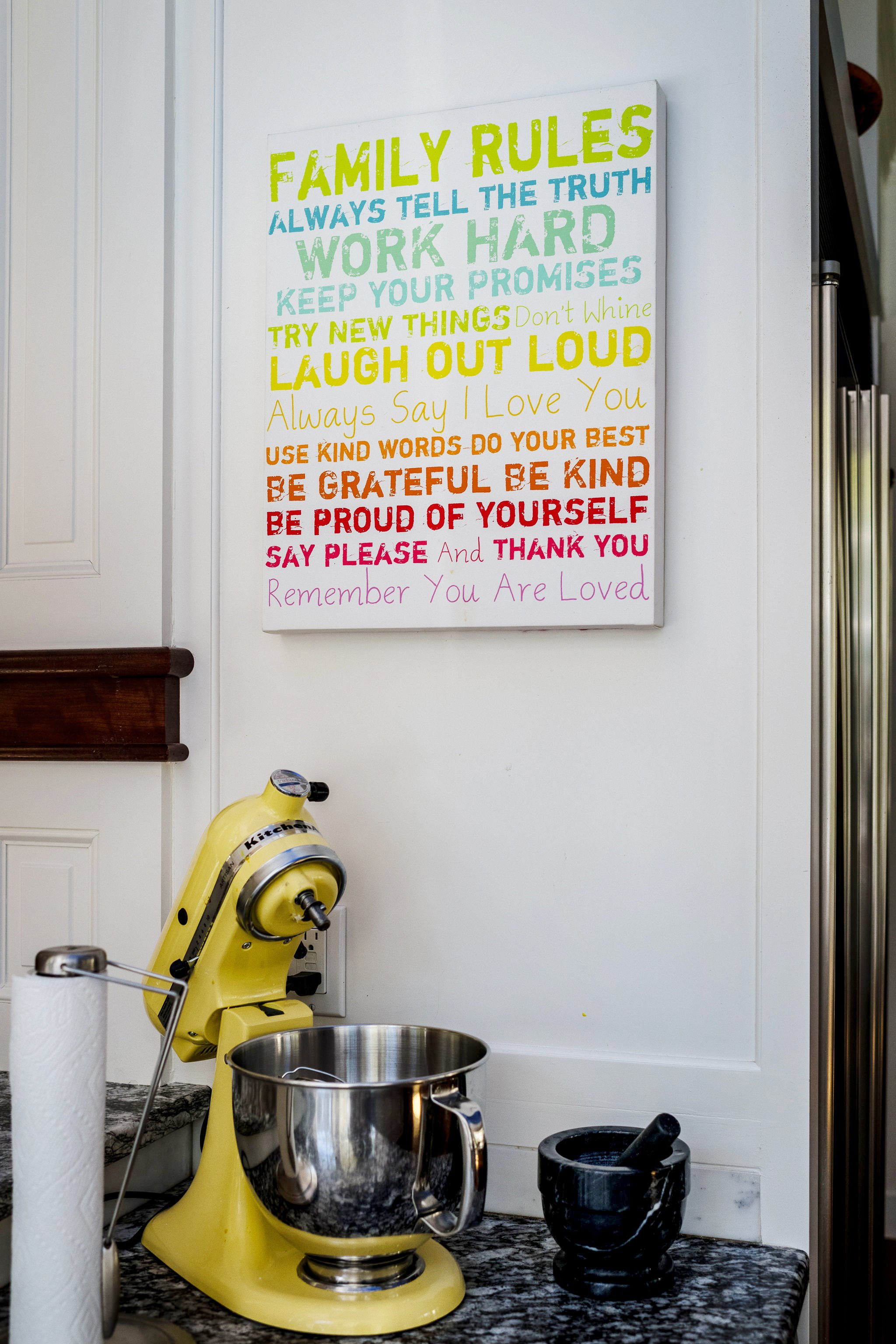 Family rules poster in home