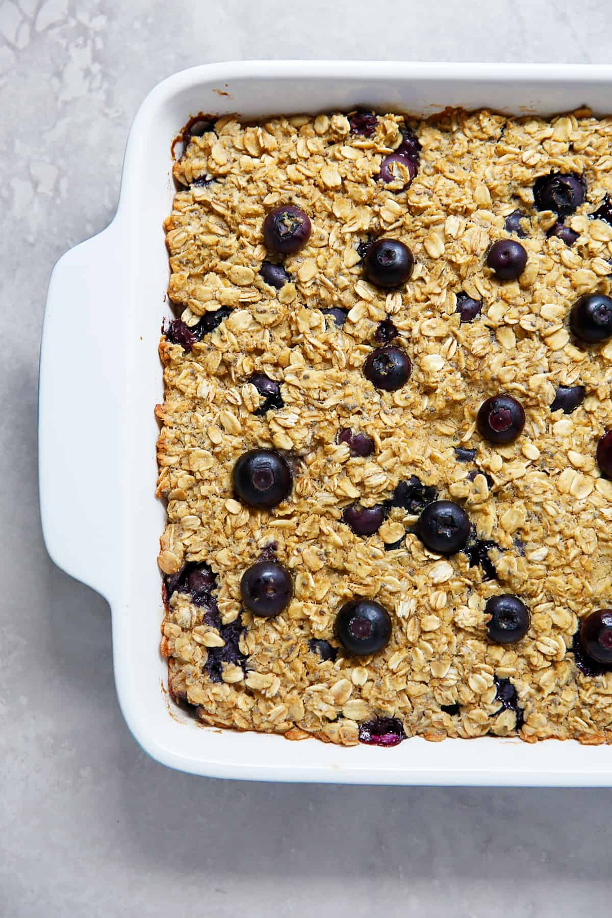 Dish with blueberry baked oatmeal