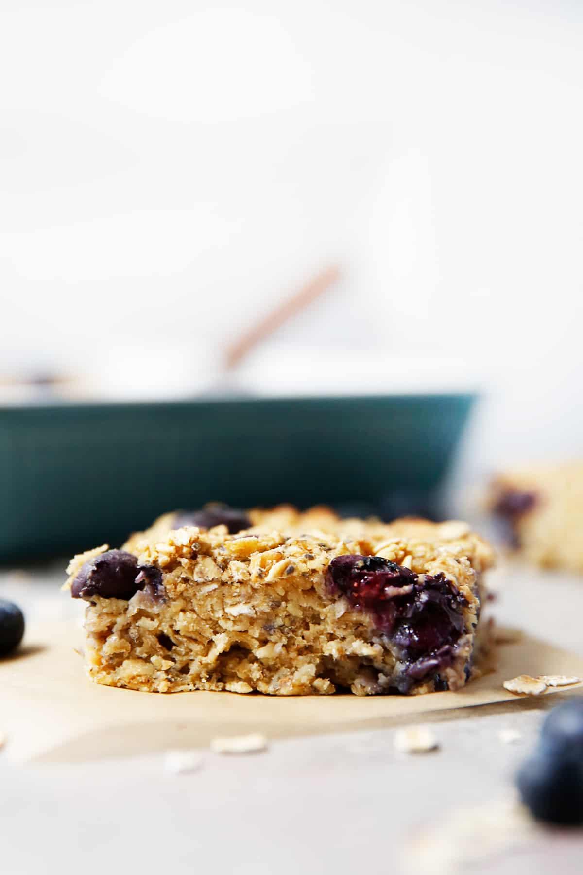 Up close shot of blueberry oatmeal bake
