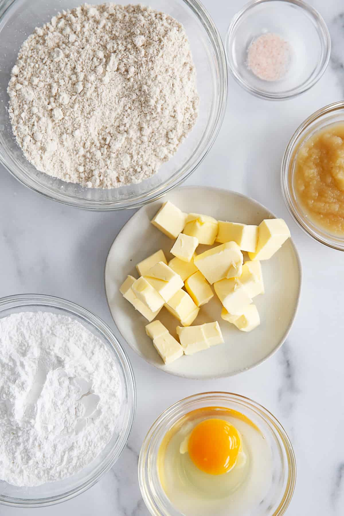 Ingredients for oat flour pie crust