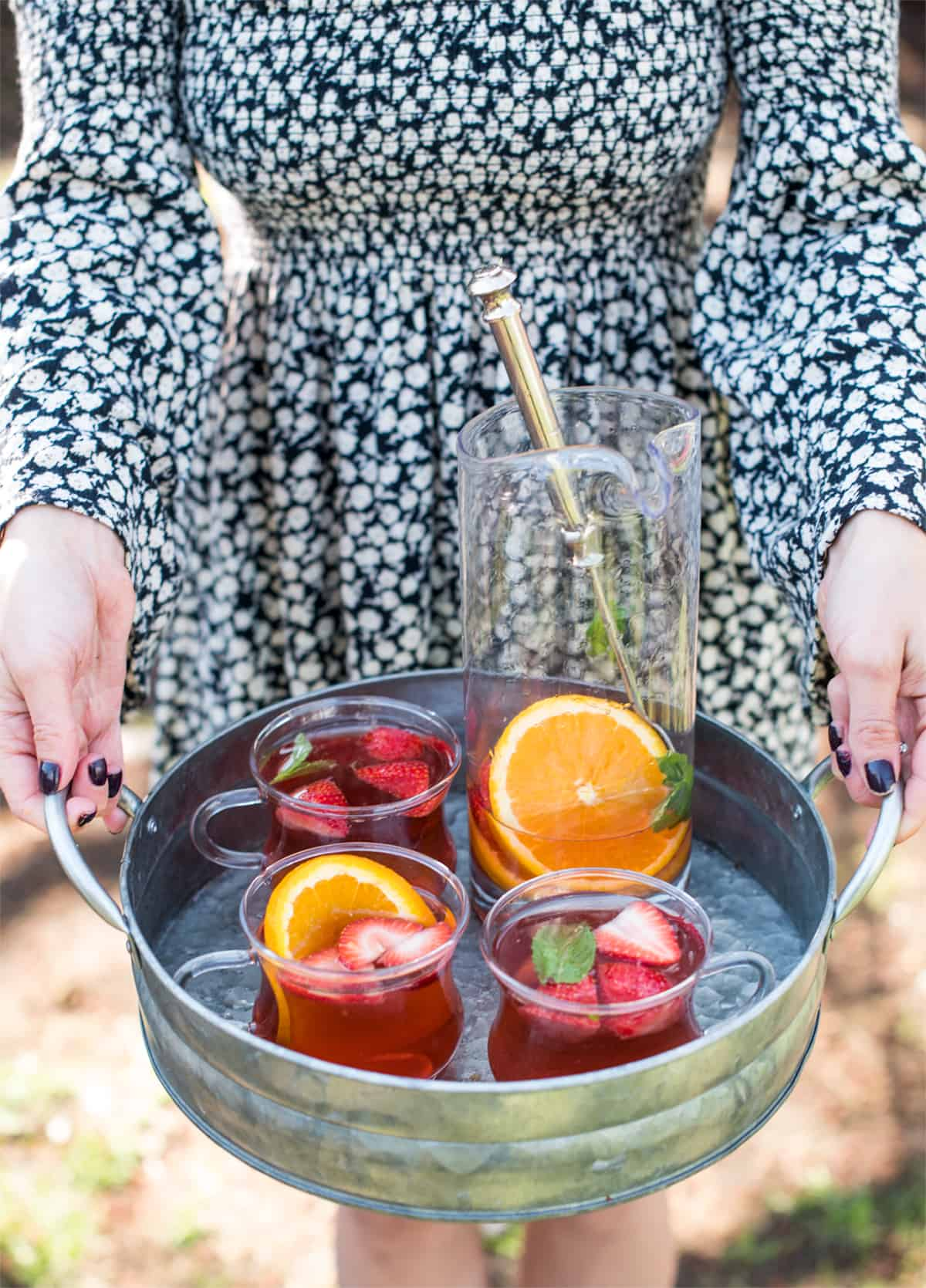 Serving glasses with summer cocktail