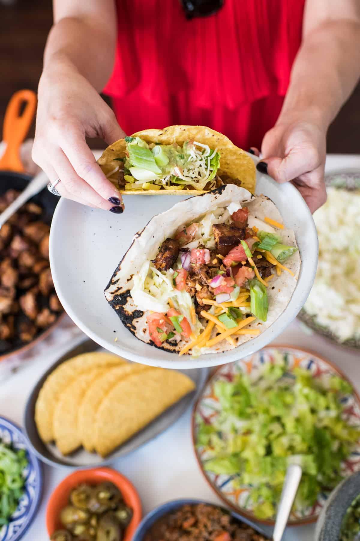 Taco bar ideas and spread on table
