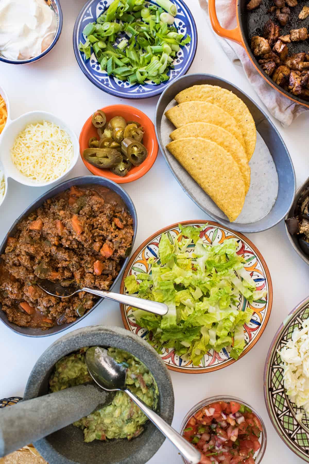 Ultimate taco bar night spread