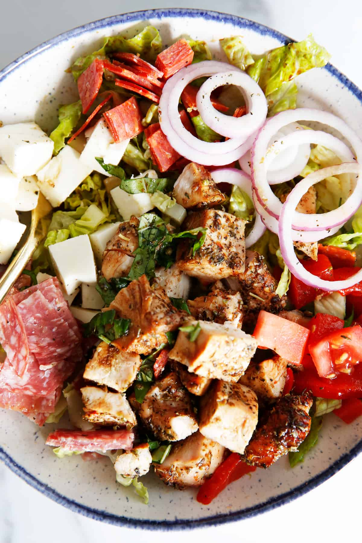 close up shot of antipasto salad recipe