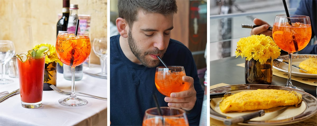 Sipping on aperol spritz cocktail in italy