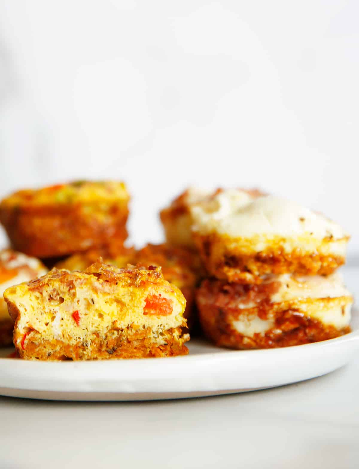 make ahead baked egg cups on a plate