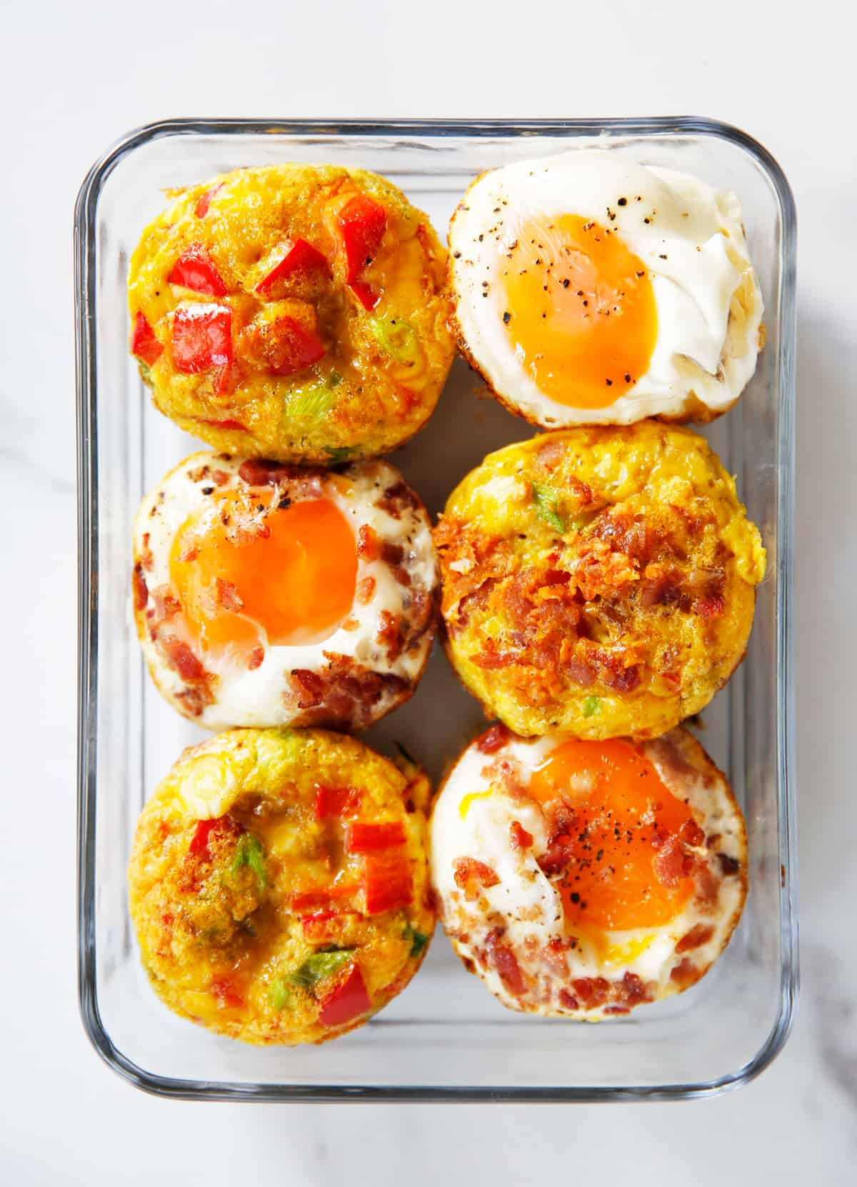 breakfast baked egg cups in meal prep container