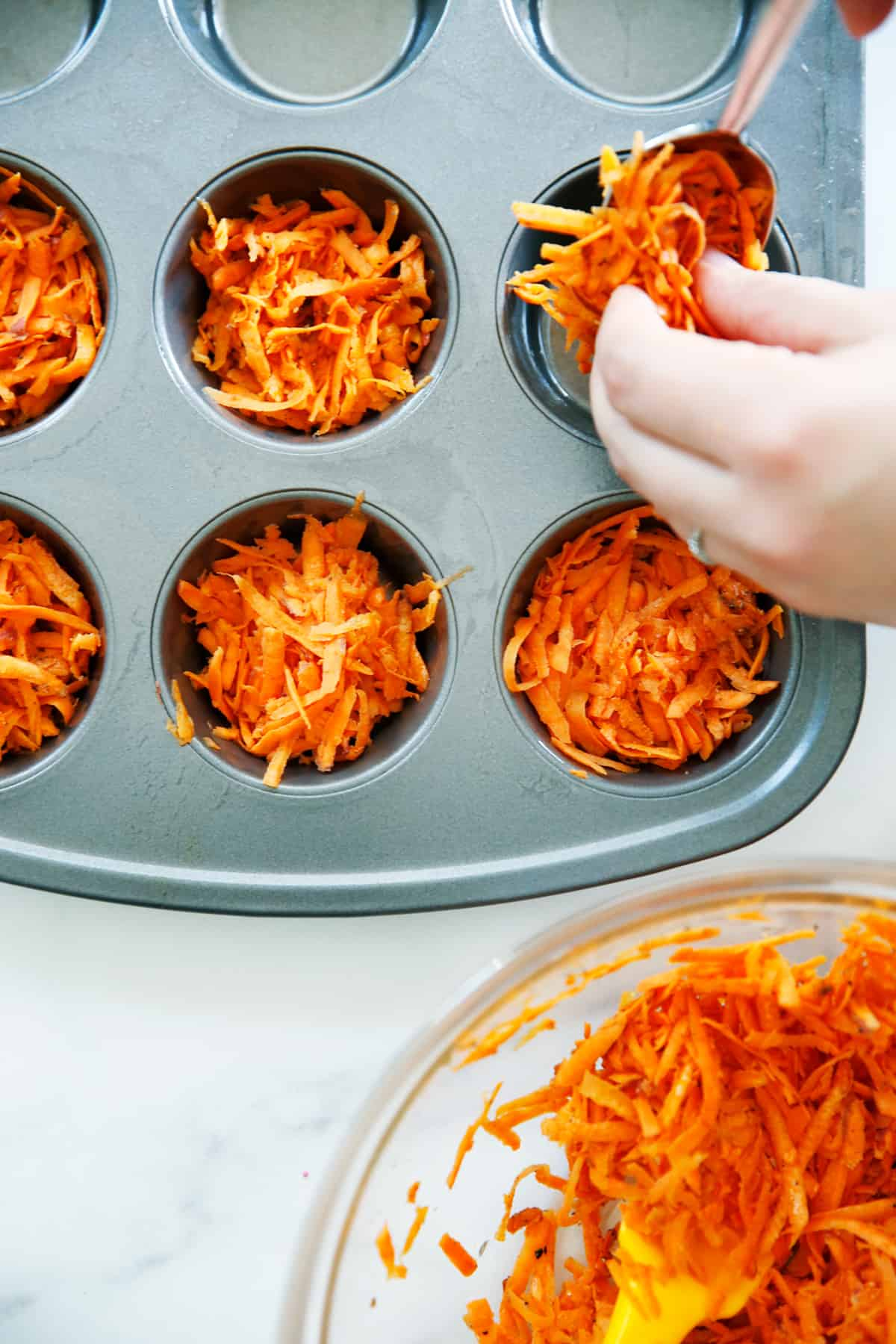 sweet potato crust in muffin tin
