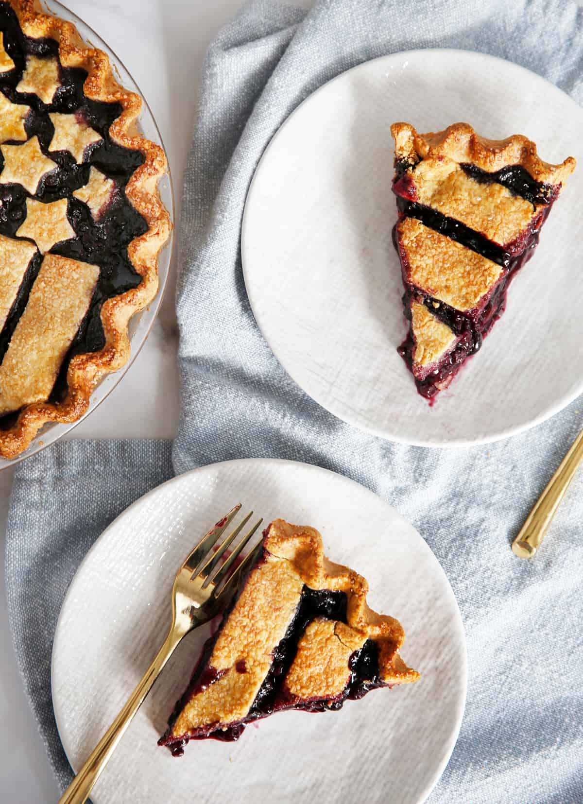 Slices of gluten free blueberry pie