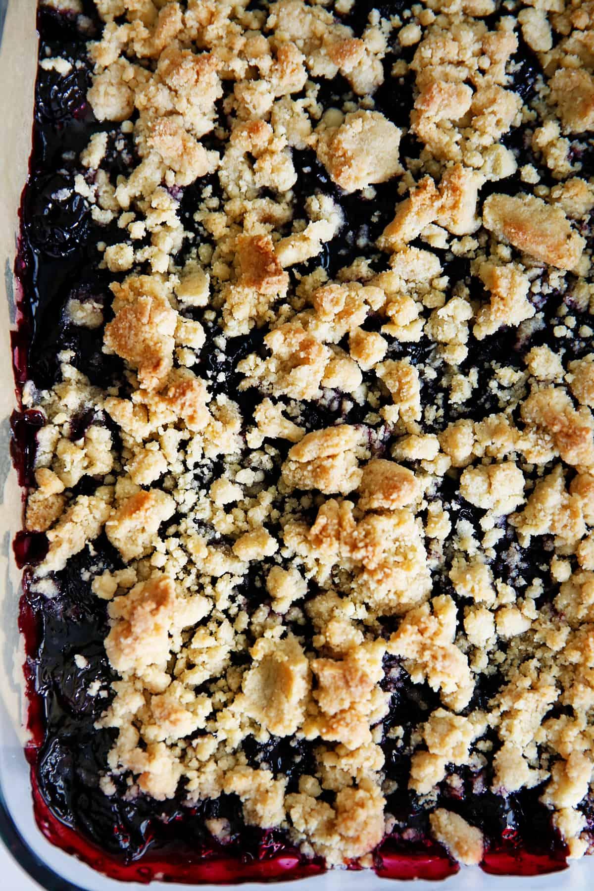 Top view of gluten-free cherry pie bars