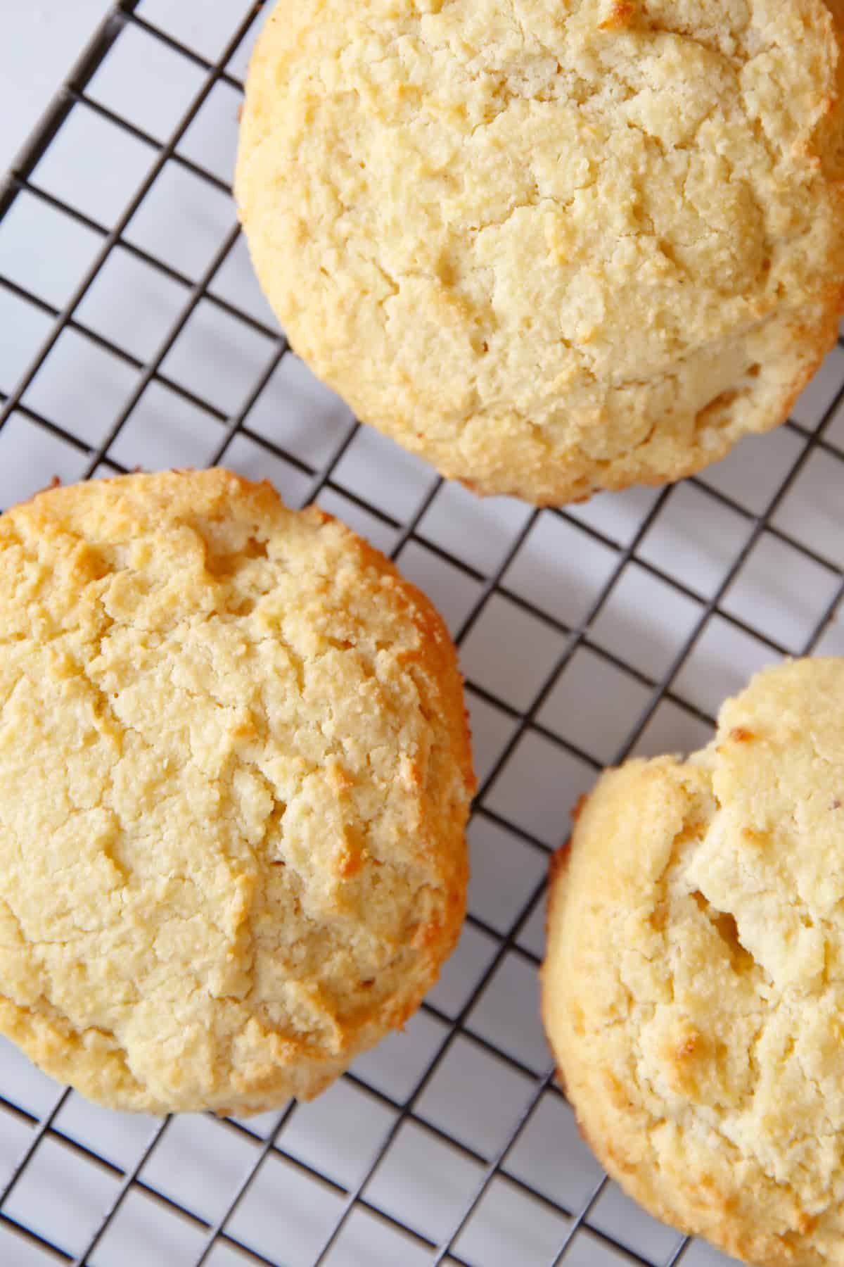 gluten free biscuit recipe cooked and cooling on a rack