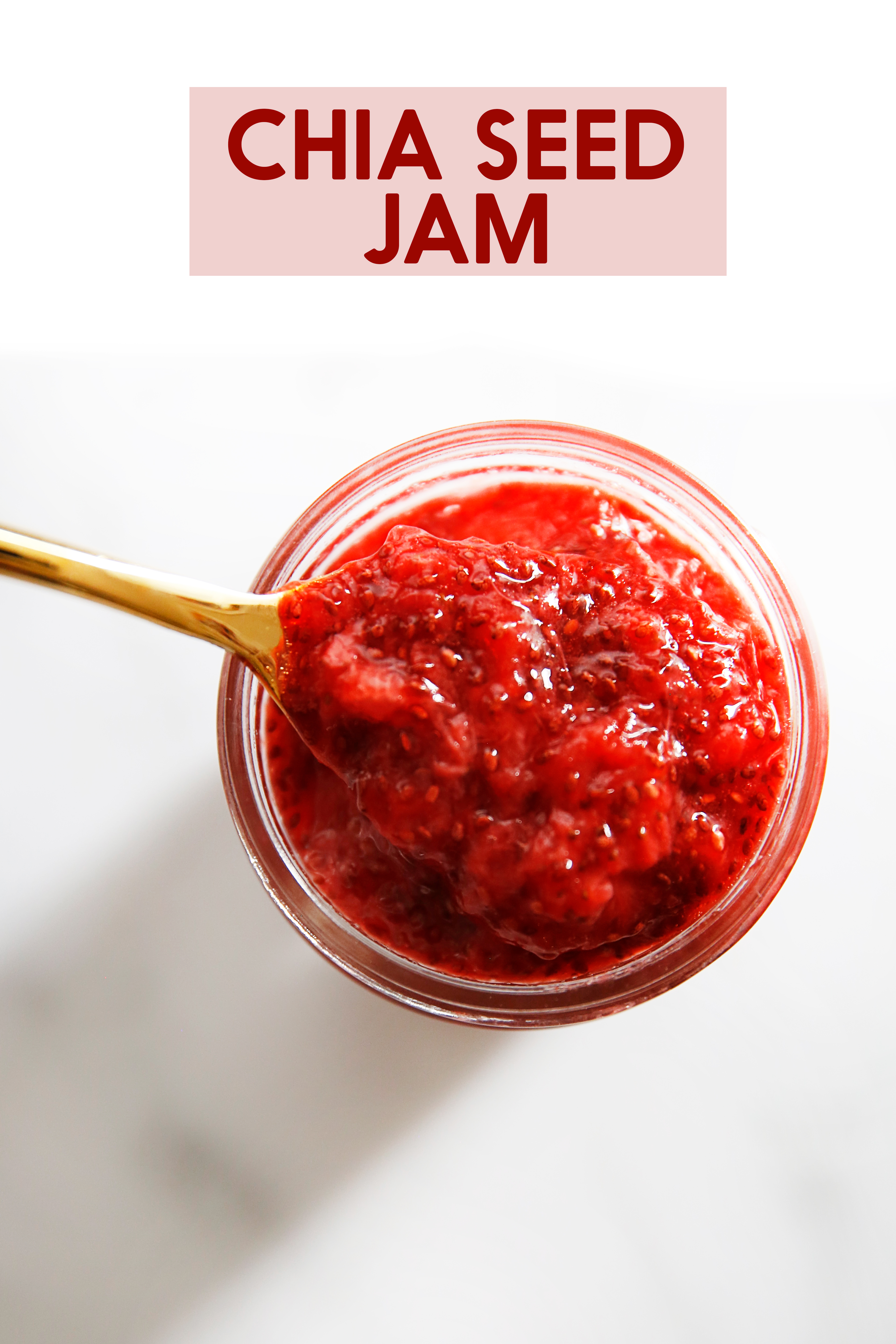 Spoon in healthy strawberry chia jam