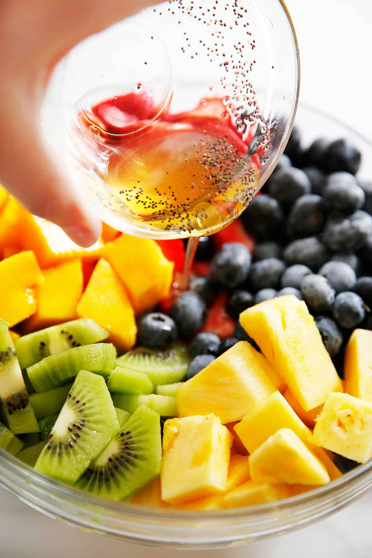 Fresh fruit salad with honey