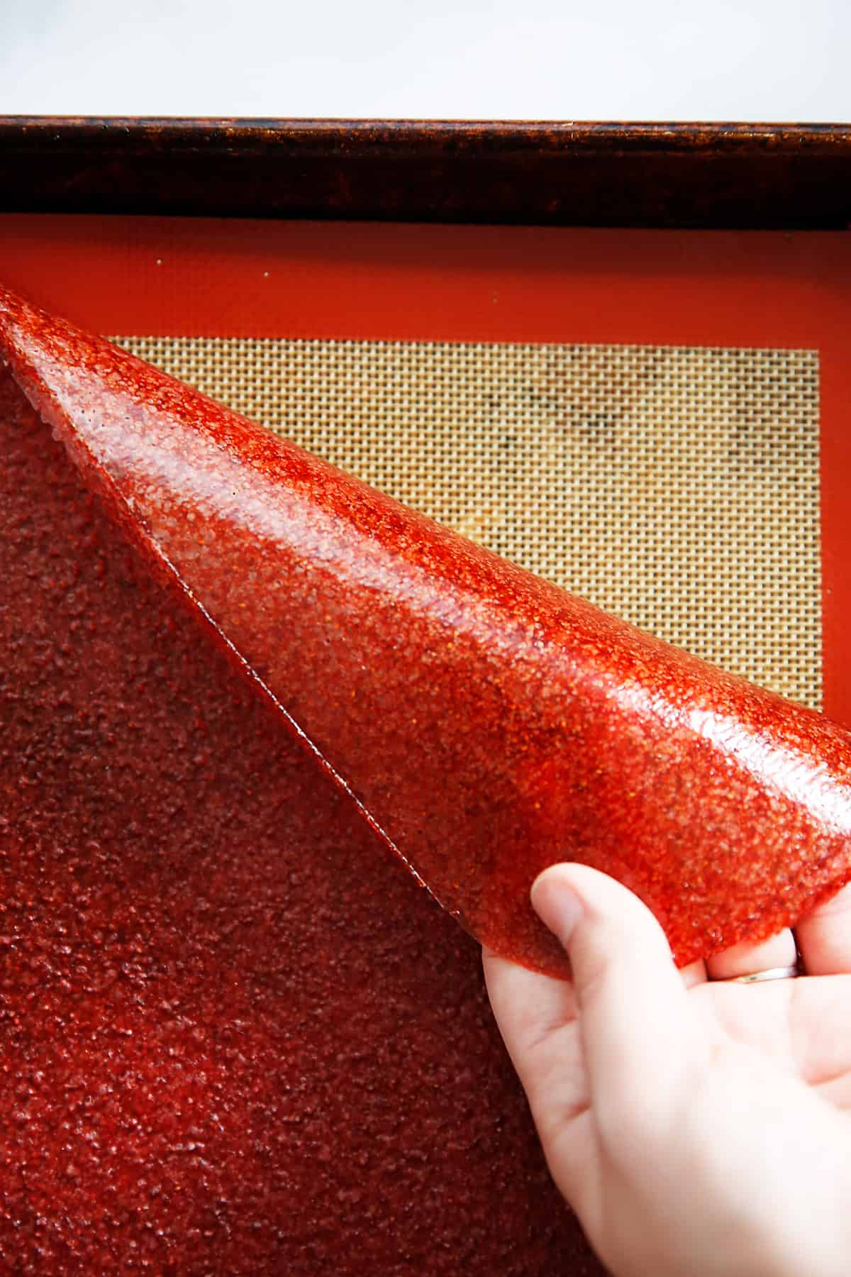 Strawberry fruit leather recipe on sheet pan