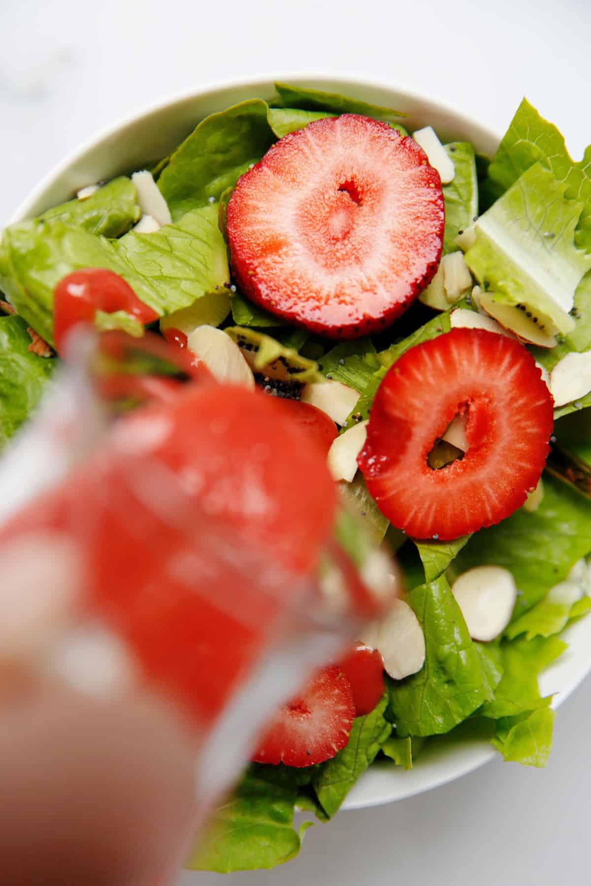Strawberry vinaigrette recipe over summer salad