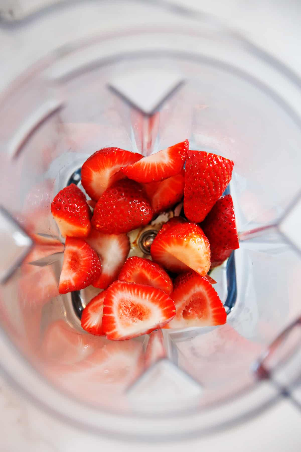 Strawberries in a blender
