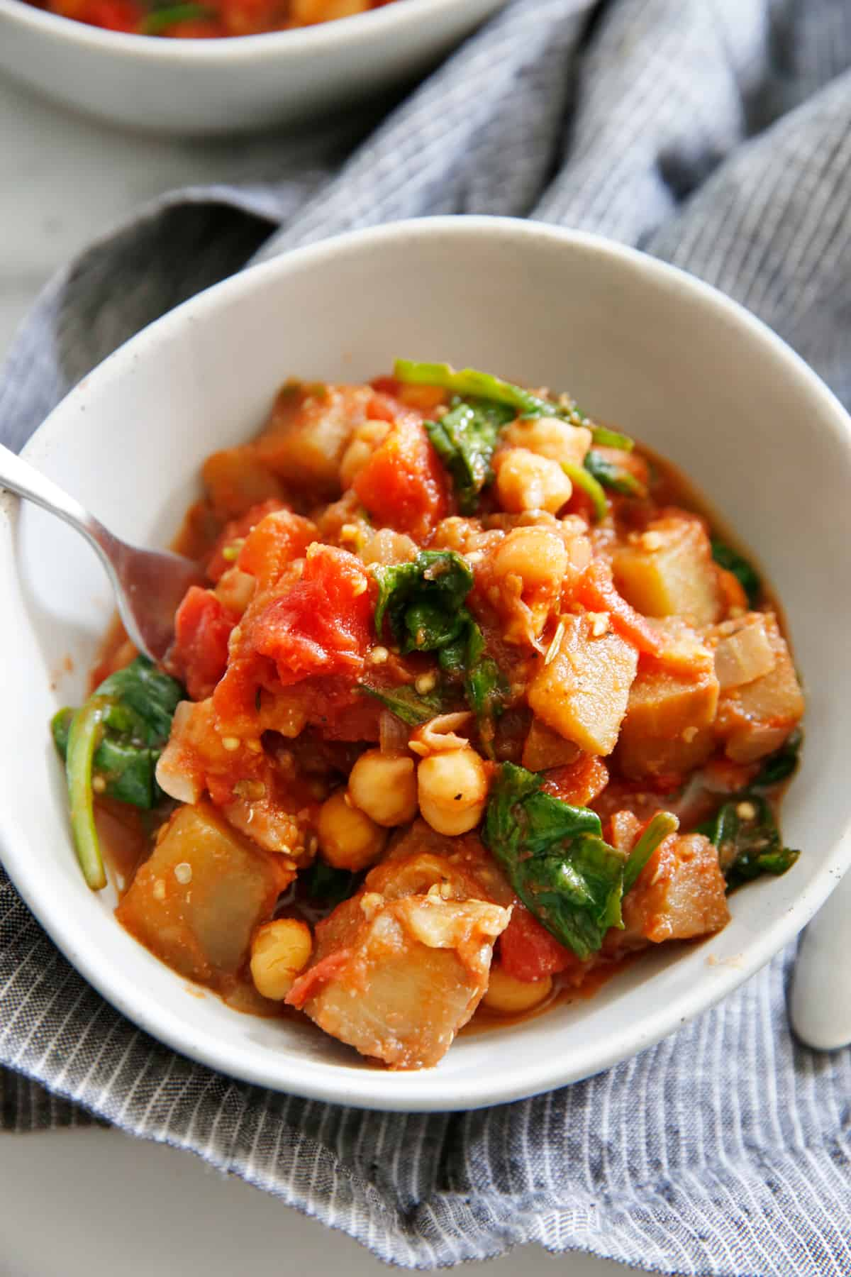 chickpea ragout with tomatoes and eggplant