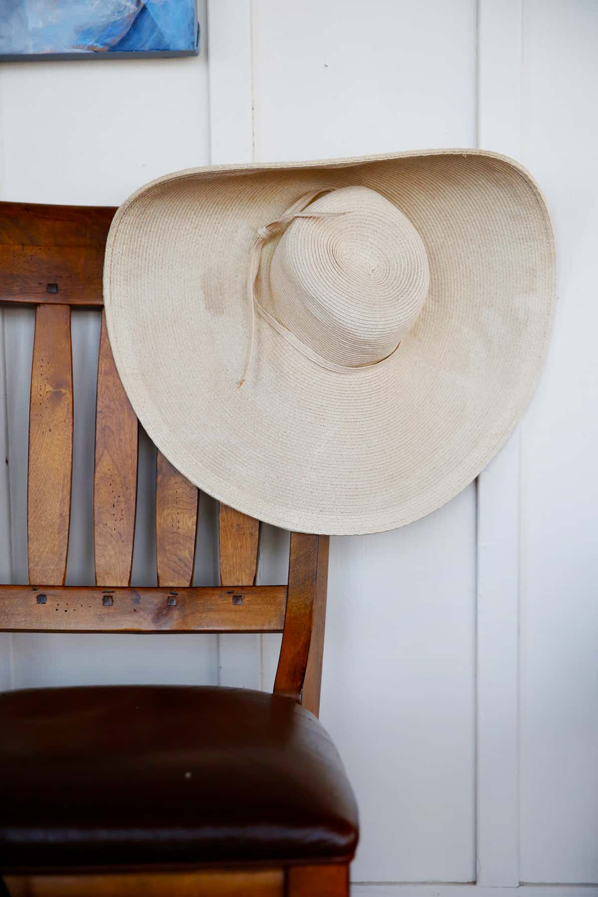 Beach hat on chair in beach house