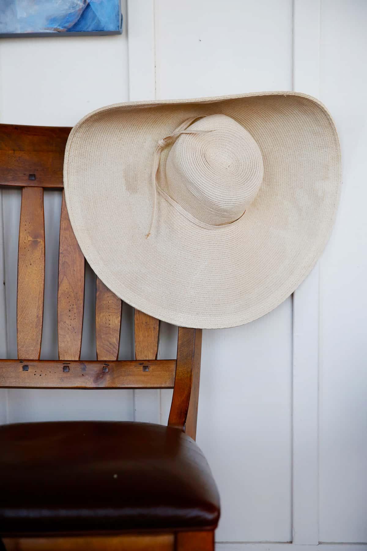 Beach hat on chair in beach house