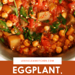 Pinterest image for eggplant and chickpea stew.