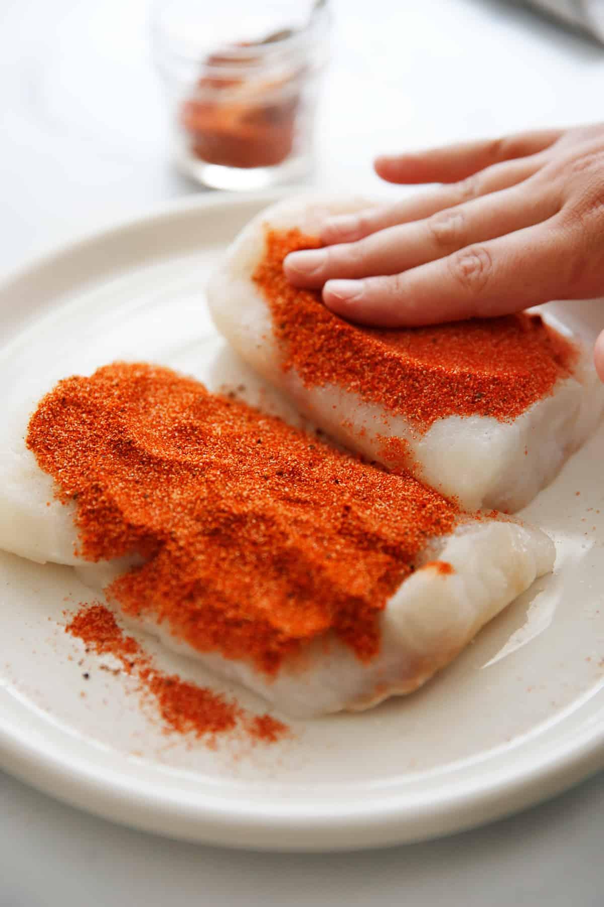 Cajun spice blend on fish