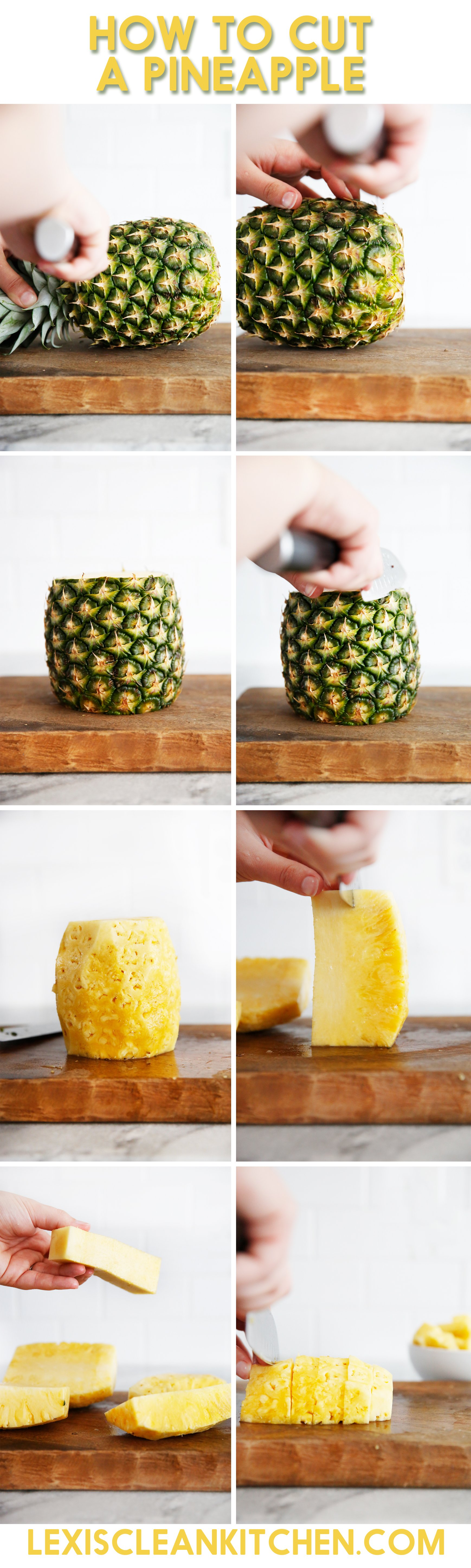 Step by step guide how to cut a pineapple