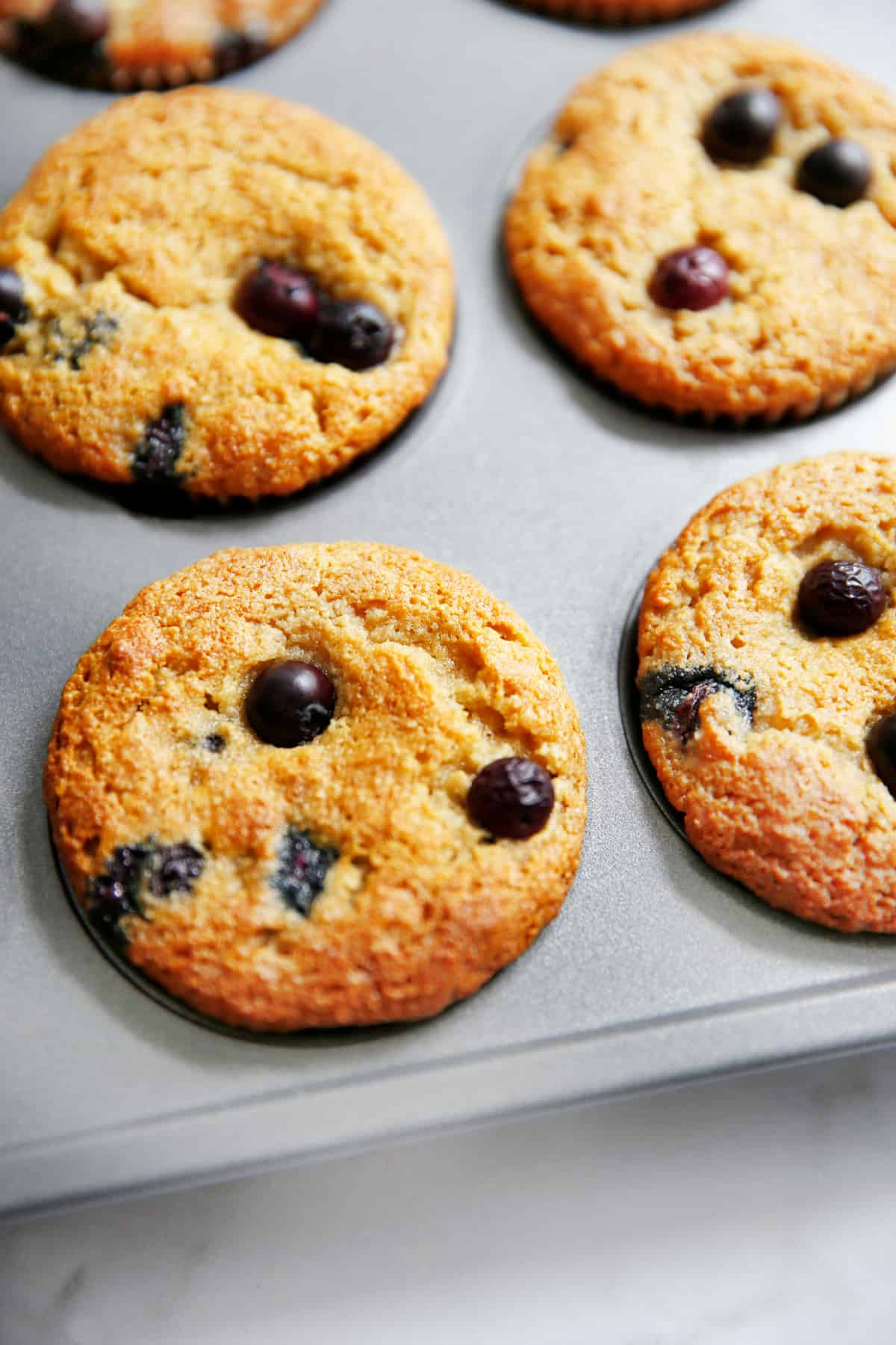 Paleo blueberry muffins in the muffin tin