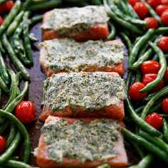 Herb Butter Salmon with Blistered Tomatoes and Green Beans