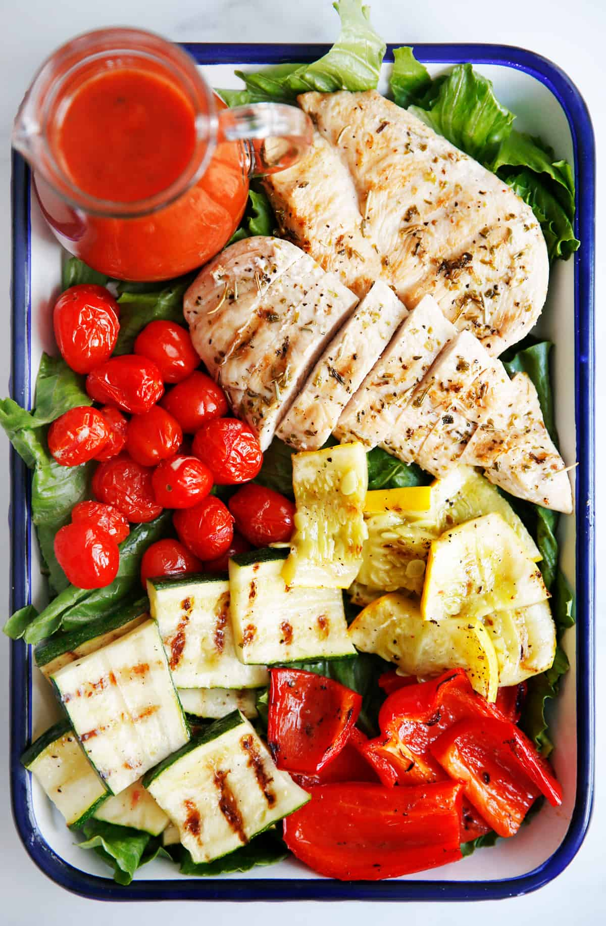 Grilled Chicken and Vegetables with Tomato Vinaigrette