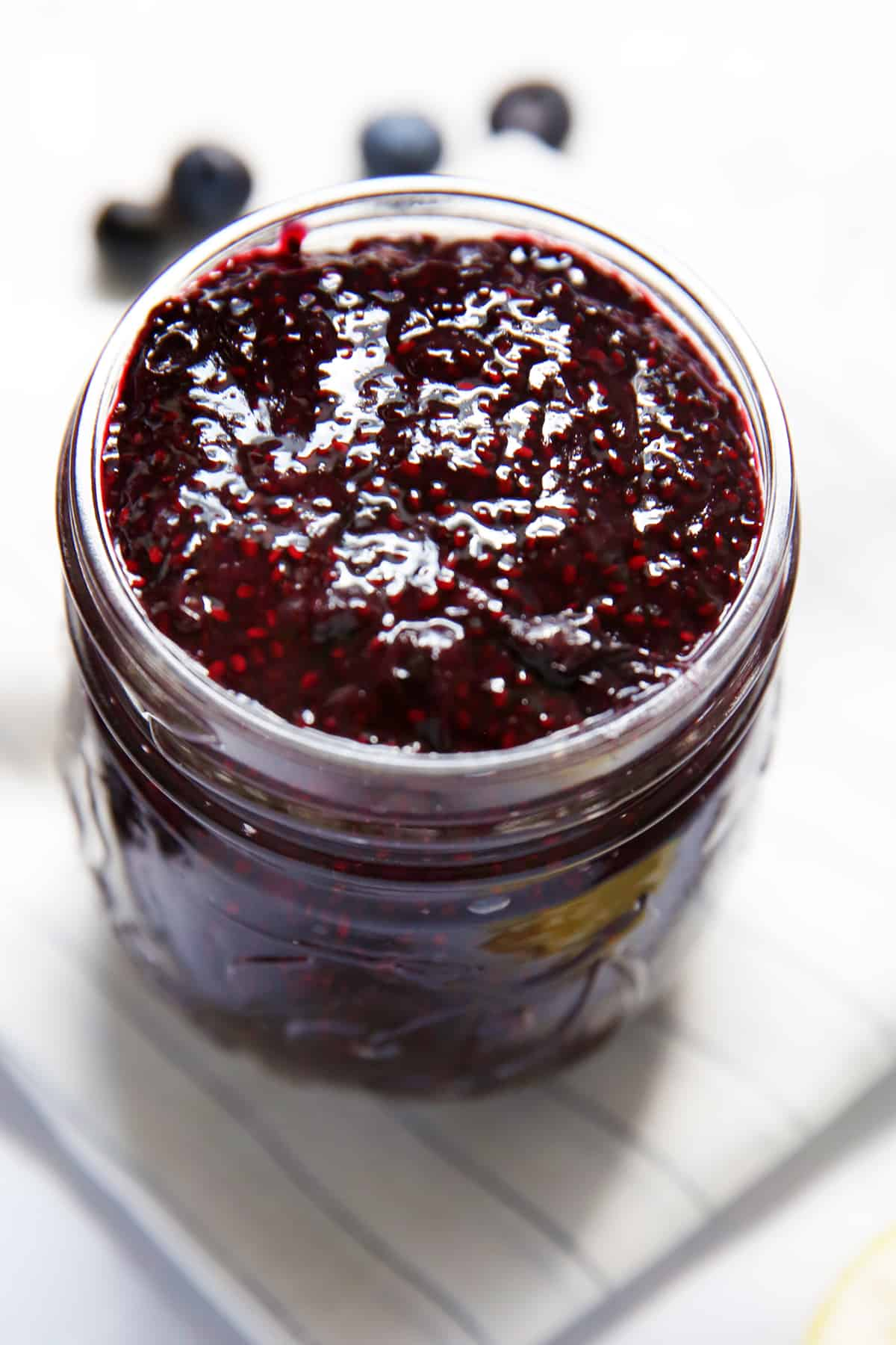 Blueberry jam with chia seeds in a jar