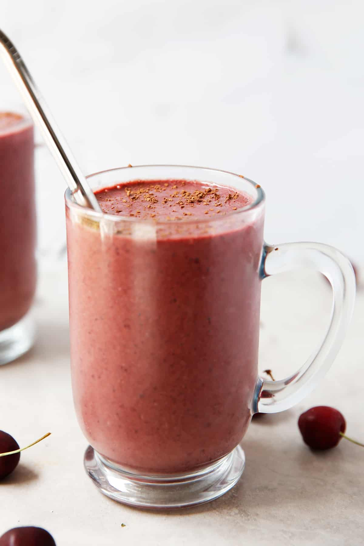 chocolate cherry smoothie in a glass